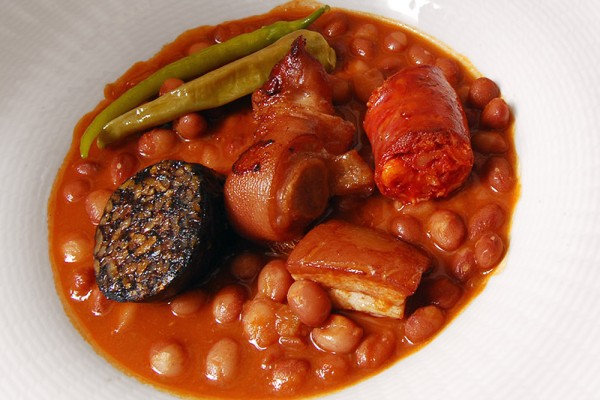 Red beans with chorizo, pork fat and pig's trotter