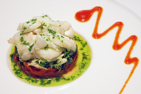 "Cod confit salad with ""piquillo"" peppers"