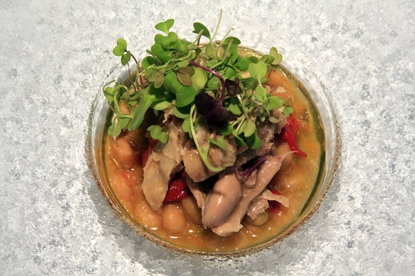Salad with white beans and pickled partridge