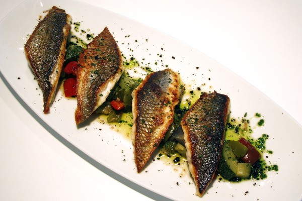 Grilled sea bass with Jerez essence