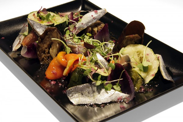 Roasted vegetables with marinated sardines